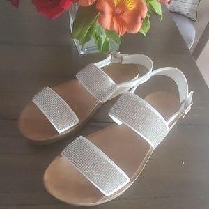 White sandals size 8.5 jeweled